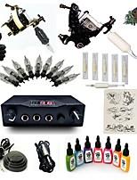 Kits de Tatuagem para Iniciantes 2xMáquina Tatuagem de aço para linhas e sombras LCD de alimentação 5 x Agulha de Tatuar RL 3 Kit completo