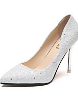 Damen High Heels Komfort PU Sommer Schwarz Silber Champagner 12 cm & mehr