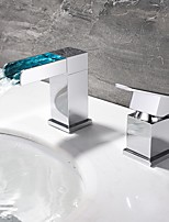 LED Modern Style Single Handle Double Holes Waterfall Spout Bathroom Basin Sink Faucet Set