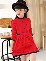 Girl's Solid Patchwork Dress,Wool Cotton Spring Fall Long Sleeve