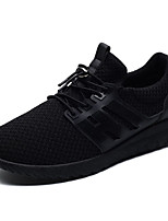 Men's Sneakers Comfort Spring Fall Tulle Casual Outdoor Lace-up Flat Heel Black Gray Ruby Flat