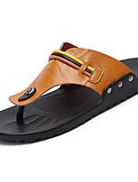 Men's Sandals Mary  Cowhide Summer Casual Mary Buckle Flat Heel Dark Brown Light Brown Black Flat