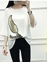 Women's Casual/Daily Simple Summer T-shirt,Print Letter Round Neck Short Sleeve Others