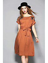 ANGEL  Women's Casual/Daily Sheath Swing DressPrint Round Neck Maxi Sleeveless Polyester Summer Mid Rise Micro-elastic Medium