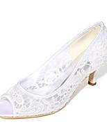 Feminino Sapatos De Casamento Plataforma Básica Primavera Verão Renda Arrastão Casamento Festas & Noite Salto Agulha Branco Preto Rosa