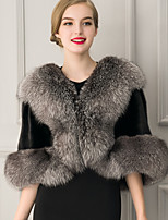 Women's Faux Fur Rectangle Infinity Scarf Solid Fall Winter Shawl Cloak Coat Colour Block Patchwork Black