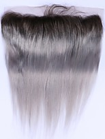 Beata Hair 1b Grey Straight Hair Lace Frontals Ombre Brazilian Hair 13x4 Lace Frontal Closure 100% No Remy Human Hair