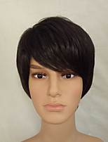 Male and Female Short Straight Natrural Black Hair Wig High Temperature Synthetic Fiber