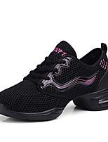 Для женщин Танцевальные кроссовки Тюль Кроссовки Для открытой площадки Планка На плоской подошве Черный 2,5 - 4,5 см Персонализируемая