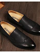 Hombre Zapatos de taco bajo y Slip-On Confort Primavera Cuero Casual Negro Gris Amarillo Plano