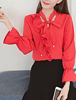 Для женщин На выход На каждый день Лето Осень Блуза V-образный вырез,Простое Однотонный Длинный рукав,Полиэстер,Средняя