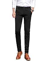 Men's Mid Rise Micro-elastic Suit Chinos PantsSimple Straight Slim Solid UK-307