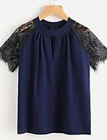 Для женщин На каждый день Весна Лето Рубашка Круглый вырез,Уличный стиль Однотонный С короткими рукавами,Хлопок,Тонкая
