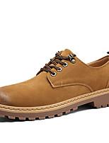 Для мужчин Туфли на шнуровке Армейские ботинки Осень Зима Дерматин Повседневные Шнуровка На плоской подошве Черный Серый ЖелтыйНа плоской