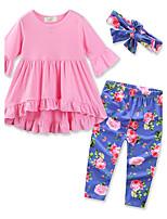 Ensembles Fille Couleur Pleine Fleur Coton Printemps Automne Pantalon long Ensemble de Vêtements