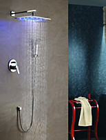 Contemporary LED Wall Mounted Rain Shower Handshower Included with  Chrome Finish Shower Faucet Bathroom Tap