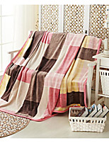 Coral fleece Plaid/Checkered Polyester Cotton Blend Blankets