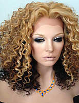 Middle Part Kinky Curly Ombre 12/16/613 Golden Brown Glueless Full Lace Human Hair Wigs Cheap On Sale