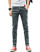 Men's Mid Rise Micro-elastic Skinny Jeans PantsSimple Slim Solid UK-605
