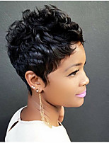 Beautiful And Exquisite  Black  Short  Hair Human Hair Wigs For Women