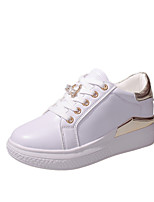 Women's Sneakers Comfort Spring Fall TPU Walking Shoes Casual Office & Career Lace-up Flat Heel Gold Silver Under 1in