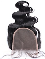 5x5 Lace Closure Bleached Knots Body Wave Indian 100% Human Hair Closure With Baby Hair Natural Black Color Free/MiddleThree Part