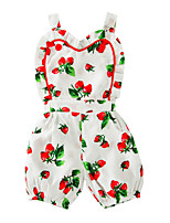 Baby Print One-Pieces Cotton Summer Sleeveless Strawberry Harness Kids Girls Romper Bodysuits Jumpsuits for Toddler Clothes