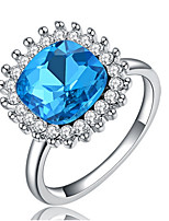 Settings Ring Band Ring Luxury Women's Euramerican Fashion Blue Square Style Birthday Wedding Movie Gift Jewelry