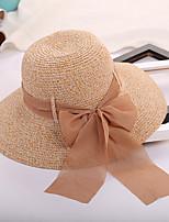 Для женщин На каждый день Шапки Соломенная шляпа Шляпа от солнца,Лето Солома Однотонный Чистый цвет Бант