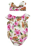 Baby Floral Print One-Pieces,Cotton Summer Short Sleeve