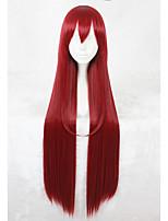 Pelucas sintéticas Sin Tapa Largo Liso Rojo Faux Locs Peluca Peluca de cosplay Las pelucas del traje