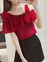 Для женщин На выход На каждый день Лето Осень Блуза V-образный вырез,Очаровательный Однотонный С короткими рукавами,Полиэстер,Средняя