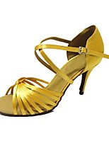 Women's Latin Satin Sandals Performance Criss-Cross Stiletto Heel Light Yellow 3