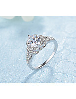 Women's Band Rings AAA Cubic Zirconia Fashion Elegant Costume Jewelry Platinum Plated Round Jewelry For Wedding Engagement Daily Ceremony