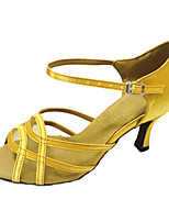 Mujer Latino Satén Sandalias Actuación Hebilla Tacón Cubano Amarillo Claro 5-7cms Personalizables