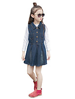 Girl's Solid Dress,Cotton Polyester Spring Fall Sleeveless