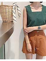 Mujer Simple Casual/Diario Tank Tops,Con Tirantes Un Color Sin Mangas Otro