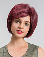 Парики из искусственных волос Без шапочки-основы Короткий Прямые Темно-красный Парик из натуральных волос Карнавальные парики