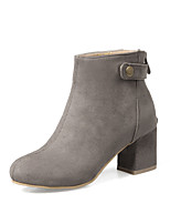 Women's Boots Combat Boots Fall Winter Nubuck leather Casual Dress Chunky Heel Black Gray Yellow Blushing Pink 2in-2 3/4in