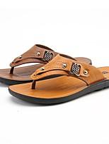 Men's Sandals Comfort Summer Synthetic Microfiber PU Casual Flat Heel Yellow Brown Flat