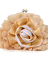 Women Bags All Seasons Polyester Evening Bag with Floral Pleated Ruffles for Wedding Event/Party Casual Formal Office & Career Black