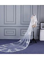 Wedding Veil One-tier Elbow Veils Cathedral Veils Lace Applique Edge Lace Tulle
