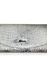 Women Checkbook Wallet Cowhide All Seasons Daily Casual Rectangle Magnetic Silver
