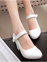 Mujer Zapatos PU Primavera Confort Tacones Tacón Robusto Para Casual Blanco Azul Rosa