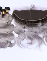 Beata Hair 8A Brazilian Grey Hair Weave 3 Bundles With Lace Frontal Closure Dark Root Ombre Hair Extensions With 13x4'' Full Frontals Body Wave