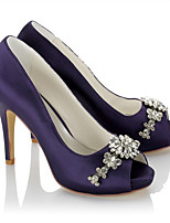 Women's Heels Basic Pump Satin Summer Fall Wedding Party & Evening Dress Basic Pump Rhinestone Chain Stiletto Heel Purple 4in-4 3/4in