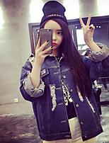 Feminino Jaqueta jeans Para Noite Simples Primavera,Sólido Padrão Poliéster Colarinho de Camisa Manga Longa