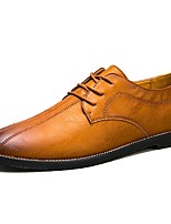 Men's Oxfords Comfort Spring Fall PU Casual Lace-up Flat Heel Brown Black Flat