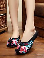 Для женщин Тапочки и Шлепанцы Удобная обувь Весна Лето Полотно Повседневные На плоской подошве Черный Красный На плоской подошве