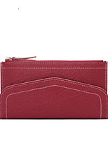 Women Checkbook Wallet Cowhide All Seasons Round Zipper Ruby